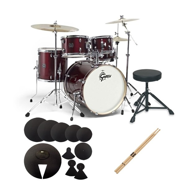 """Gretsch Energy 20"""" Drum Kit Starter Pack w/Pads and Sticks, Wine Red"""