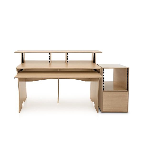 3 Tier Pro Audio Studio Desk + Rack Cabinet, Wood - Full Bundle