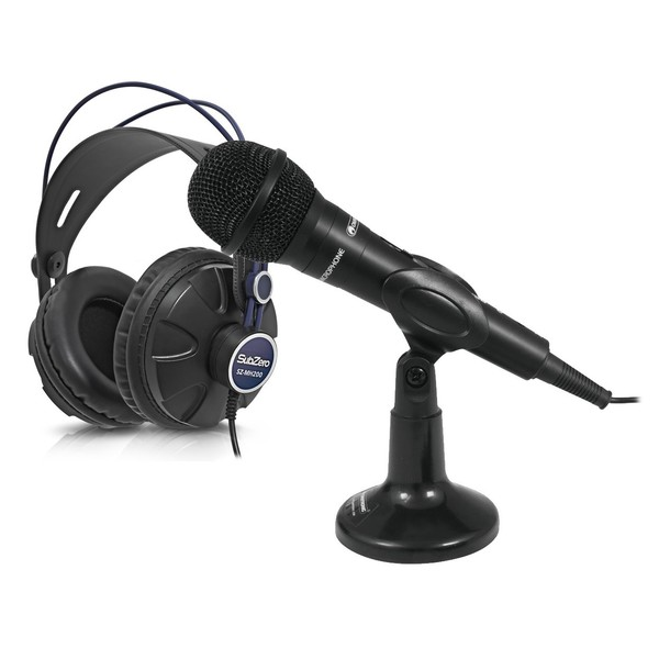 Omnitronic M-22 USB Dynamic Microphone with SZ-MH200 Headphones - Full Bundle