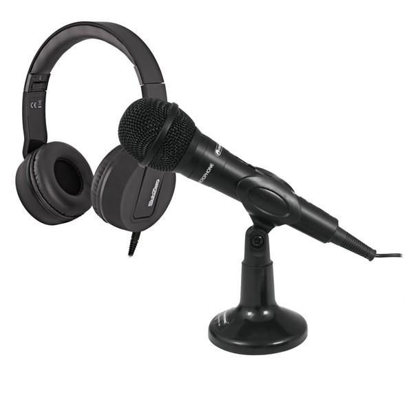 Omnitronic M-22 USB Dynamic Microphone with SZ-H100 Headphones - Full Bundle