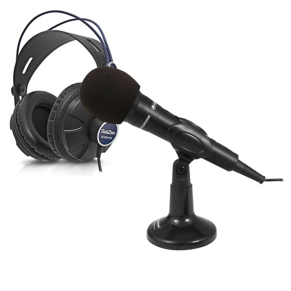 Omnitronic M-22 USB Dynamic Mic Bundle with Headphones and Windscreen - Full Bundle