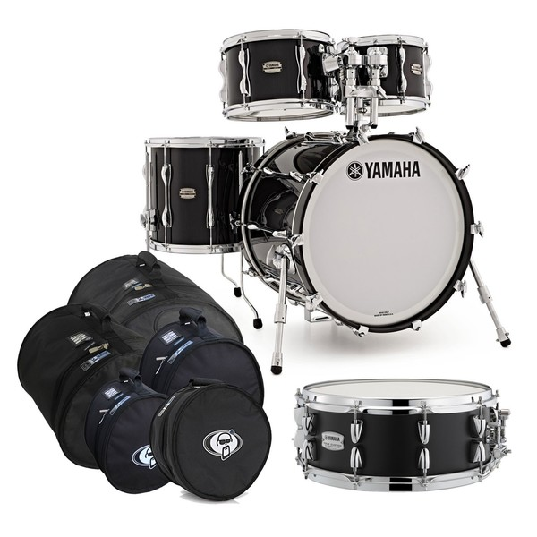 Yamaha Recording Custom 5pc Shell Pack, Solid Black w/Bag Set