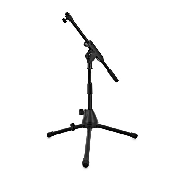 Low Mic Stand with Extending Boom Arm, Front Angled Left
