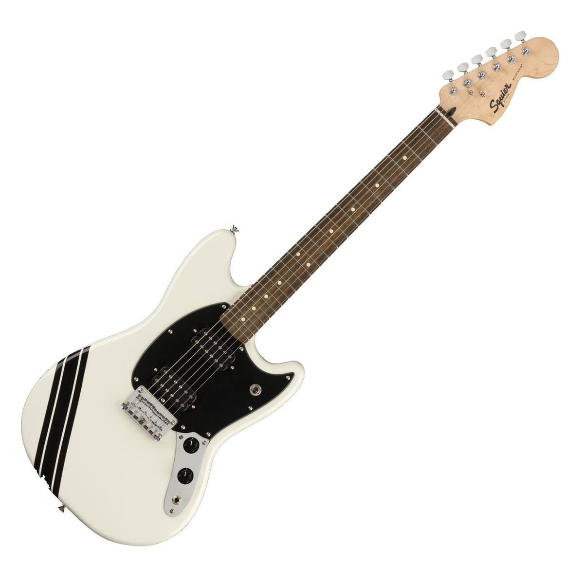 SQUIER FSR Bullet® Competition Mustang® HH Arctic White with Black Stripes