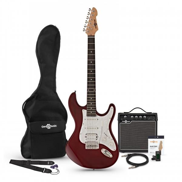 LA Select Electric Guitar HSS + Amp Pack, Trans Red