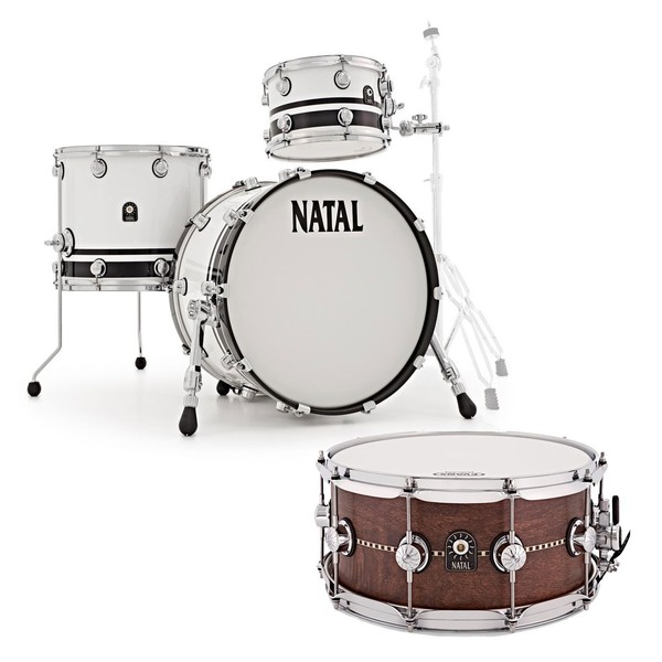 Natal Café Racer 18'' 4pc Shell Pack w/Free Snare, White/Black Split