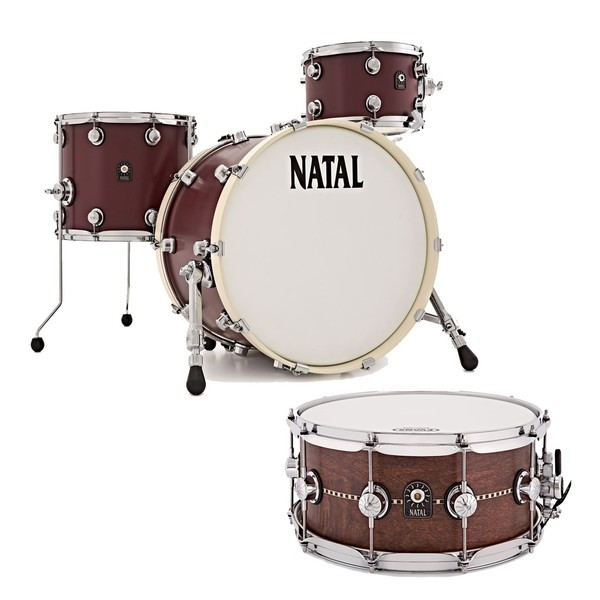 """Natal Café Racer 20"""" 4pc Shell Pack w/Free Snare, Oxblood Red"""