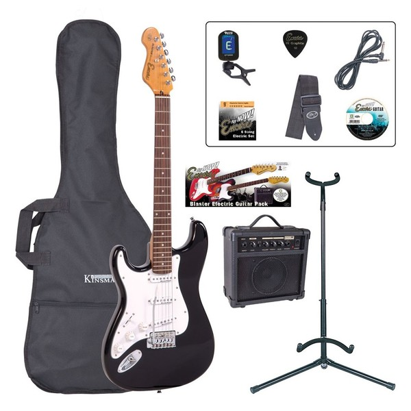 Encore E6 Electric Left Hand Guitar Outfit, Black - main
