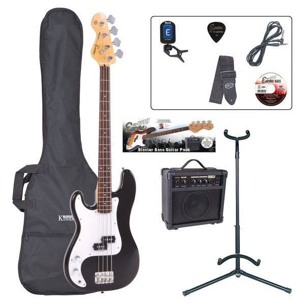 Encore E4 Bass Guitar Left Hand Outfit, Black - main