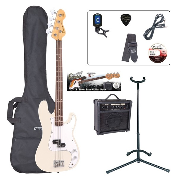 Encore E4 Bass Guitar Outfit, Vintage White - main