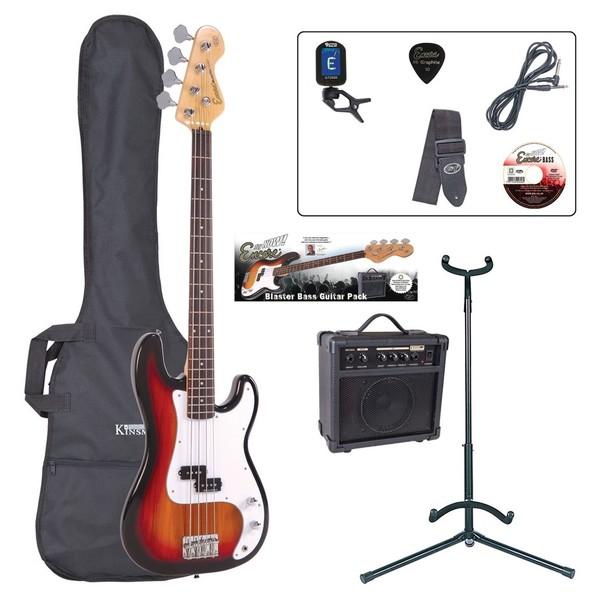 Encore E4 Bass Guitar Outfit, Sunburst - main
