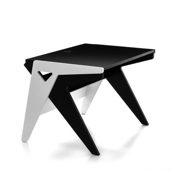 """Zaor Vision OS42"""" Studio Desk, Black/White - Angled"""