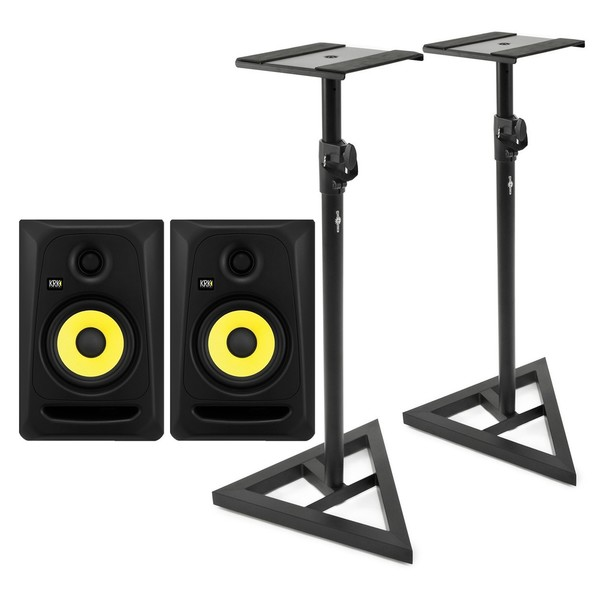 KRK RP5 Classic Studio Monitor, Pair With Monitor Stands - Full Bundle