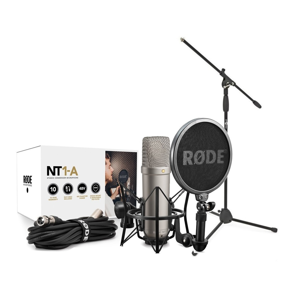 Rode NT1 A Vocal Recording Pack with Mic Stand at Gear4music