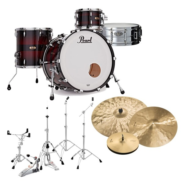 Pearl Masters MRV 22'' Professional Drum Kit, Red Burst Triband