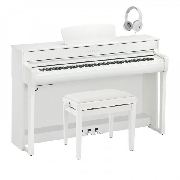Yamaha CLP 735 Digital Piano Package, Satin White