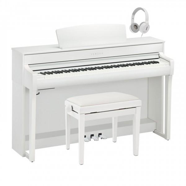 Yamaha CLP 745 Digital Piano Package, Satin White