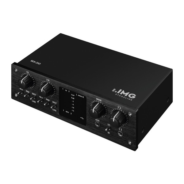 IMG Stageline MX-2IO 2-Channel USB Recording Interface, Front Angled Left