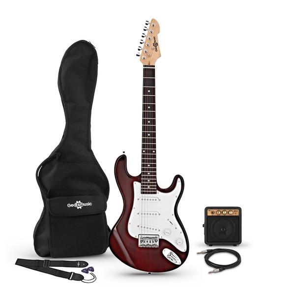 3/4 LA Electric Guitar + Miniamp, Wine Red