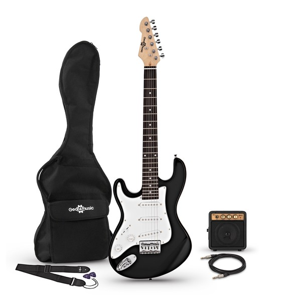 3/4 LA Left Handed Electric Guitar + Miniamp, Black