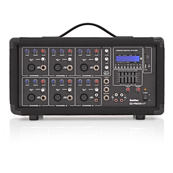 SubZero SZ-PMIX6-MP3 6 Channel Powered Mixer, Digital Media Player