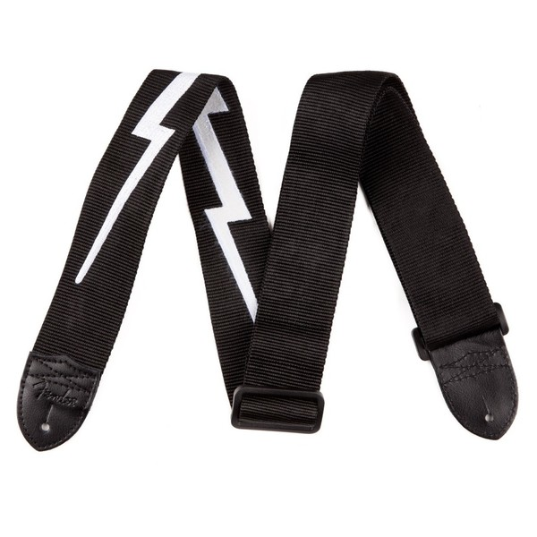 "Fender 2"" Nylon Lightning Bolt Strap, Black - Front View"