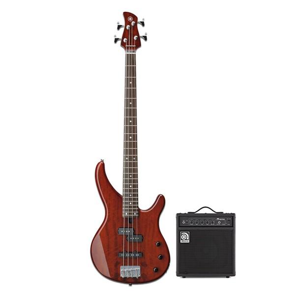 Yamaha TRBX174EW Bass, Root Beer w/ Ampeg BA-108 V2 Combo - main