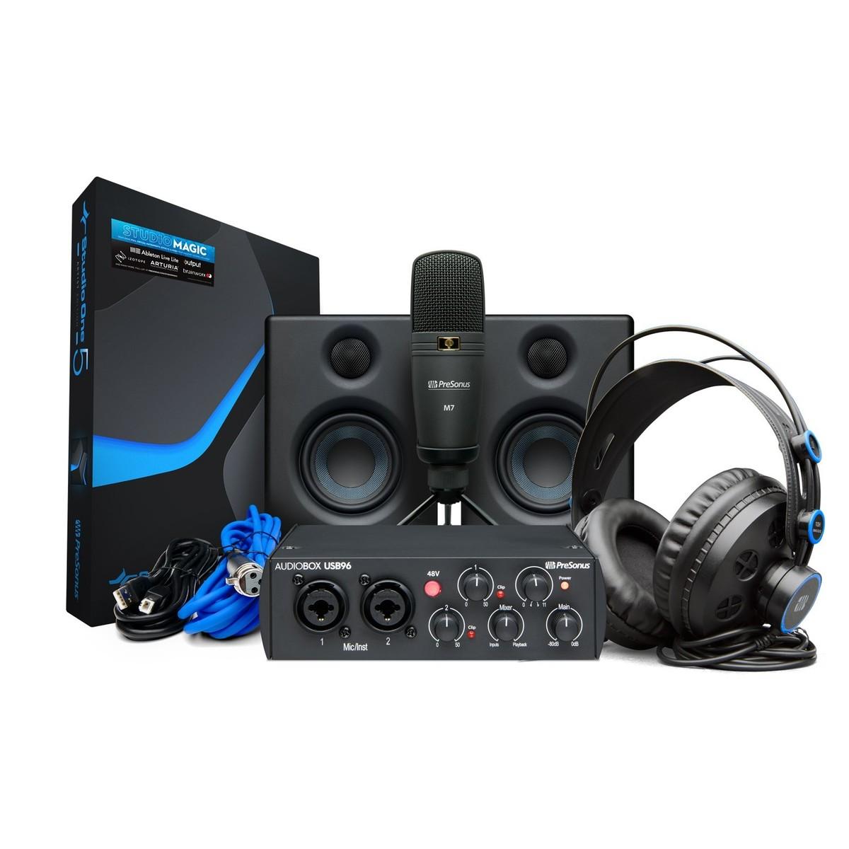 PreSonus AudioBox USB 96, HD7 Headphones, M7 Microphone