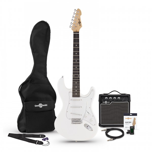 LA Electric Guitar + Amp Pack, White