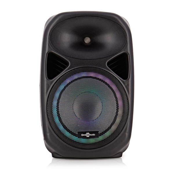 """Galaxy 12"""" Active LED Speaker by Gear4music - Front View (Colour on)"""