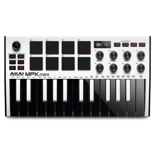 Akai Professional MPK Mini MK3 Laptop Production Keyboard, White - Top
