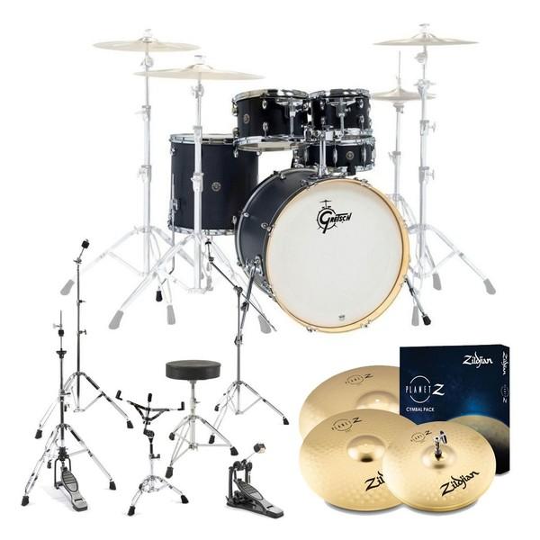 Gretsch Catalina Birch 5pc Drum Kit w/Hardware & Cymbals, Ebony Stain