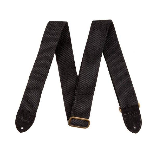 Fender Guitar Strap Cotton/Leather, Black - Front View