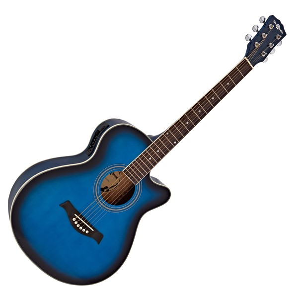 Single Cutaway Electro Acoustic Guitar by Gear4music, Blue