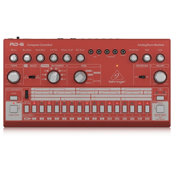 Behringer RD-6 Drum Machine, Red - Top