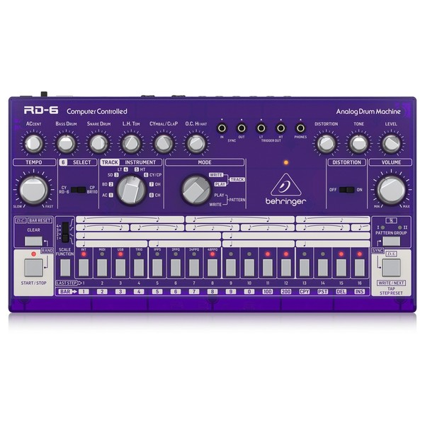 Behringer RD-6 Drum Machine, Purple - Top