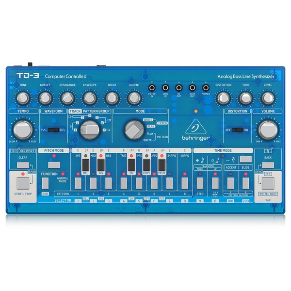Behringer TD-3-SR Analog Bass Line Synthesizer, Transparent Blue - Top