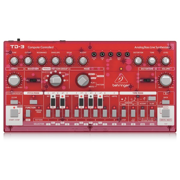 Behringer TD-3 Analog Bass Line Synthesizer, Transparent Red - Top