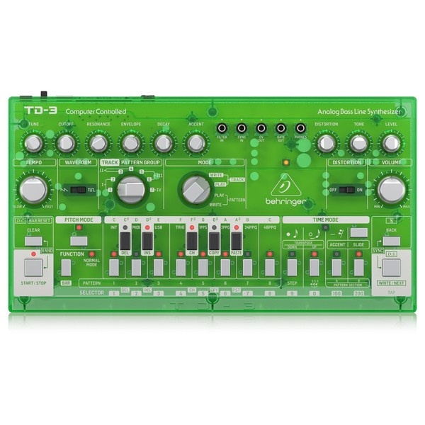 Behringer TD-3 Analog Bass Line Synthesizer, Transparent Green - Top