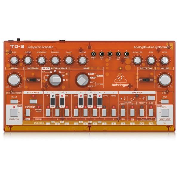 Behringer TD-3 Analog Bass Line Synthesizer, Transparent Orange - Top