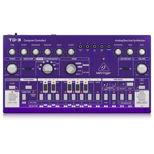 Behringer TD-3 Analog Bass Line Synthesizer, Purple - Top