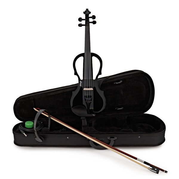 Stagg Shaped Electric Violin Outfit, Black