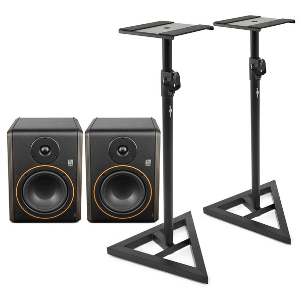 Palmer Studimon 5'' Powered Studio Monitor, Pair with Stands - Full Bundle