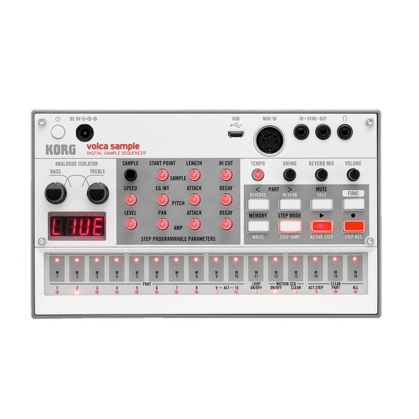 Korg Volca Sample (2020) Digital Sample Sequencer - Front View