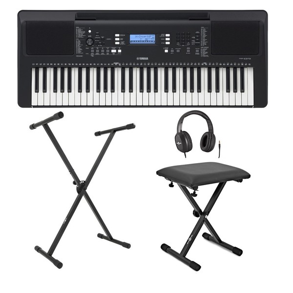 Yamaha PSR E373 Portable Keyboard with Stand, Bench and Headphones
