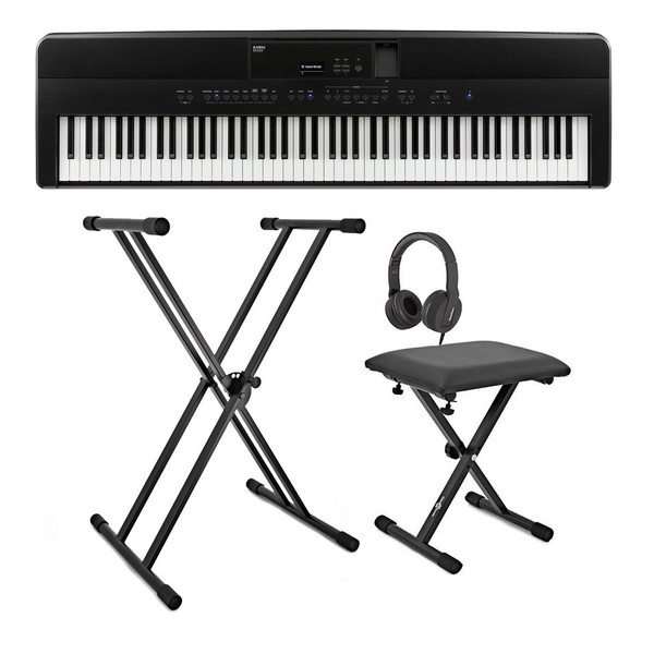 Kawai ES520 Digital Piano Pack, Black - Full Bundle