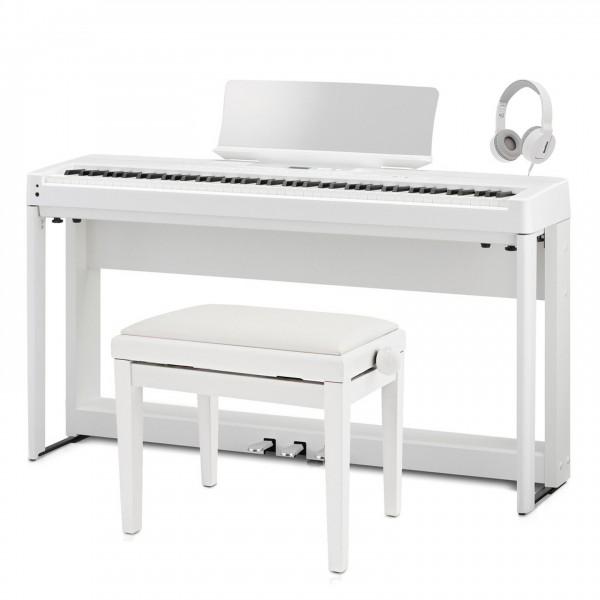 Kawai ES520 Digital Piano, White - Angled