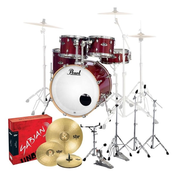 Pearl Export EXL 22'' Fusion 5pc Drum Kit w/Cymbals, Natural Cherry
