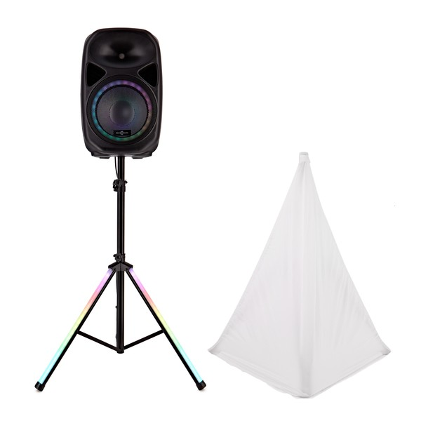 """Galaxy 12"""" Active LED Speaker and Stand by Gear4music"""