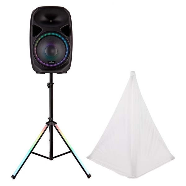 """Galaxy 15"""" Active LED Speaker and Stand by Gear4music"""